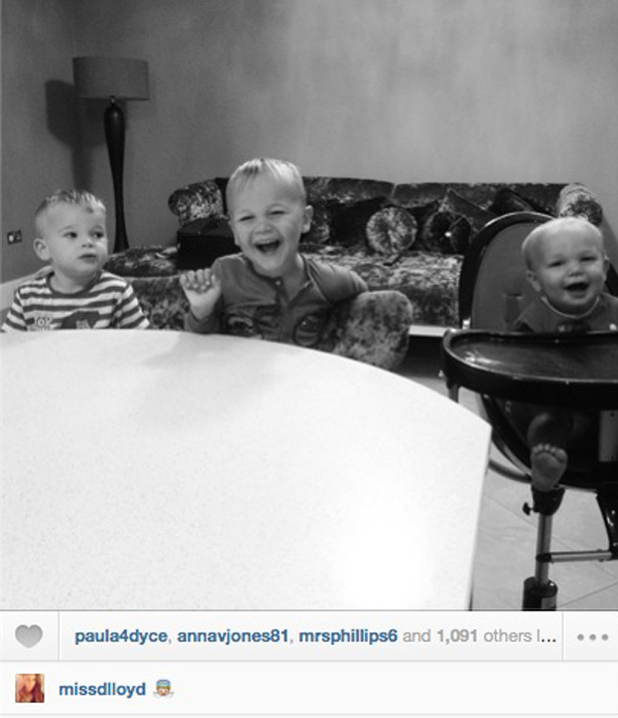 Danielle Lloyd posts photo of her sons Archie, Harry and George, 8 August 2014