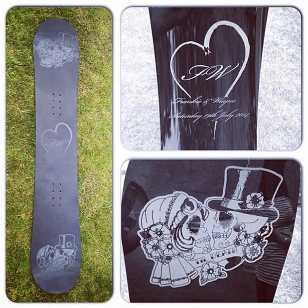 Frankie Bridge shares her favourite wedding present: a personalised skateboard, 2014