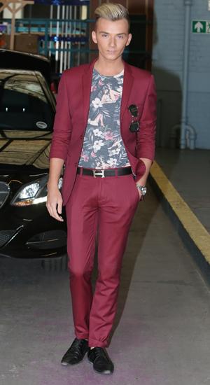 Harry Derbidge outside the ITV studios, 4 August 2014