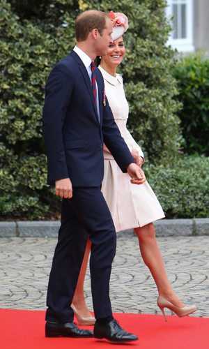 Prince William and Kate Middleton greeted by King Philippe and Queen Mathilde at Abbaye Saint-Laurent at the beginning of the 100 year commemoration of the outbreak of World War 1, Liege, Belgium, 4 August 2014