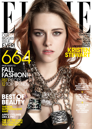 KRISTEN STEWART COVERS THE SEPTEMBER ISSUE OF ELLE. The biggest ELLE ever and largest issue Hearst has ever published for any title hits newsstands August 19
