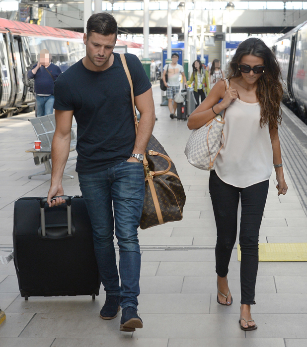Michelle Keegan and Mark Wright arrive at Manchester Piccadilly Train Station, 6 August 2014