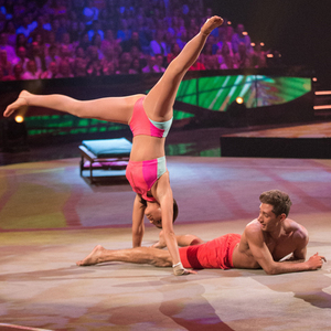 Lucy Mecklenburgh performing on BBC One's Tumble, 9 August 2014