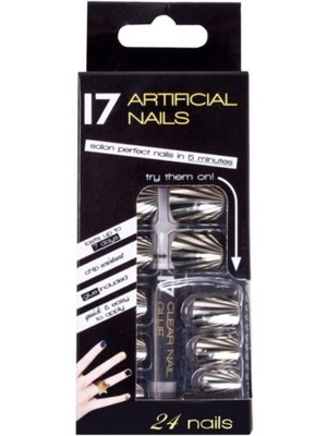 17 Artificial Nails in Gold And Black Stripe