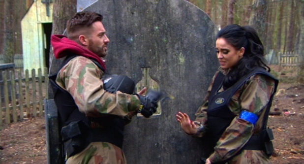 Aaron Chalmers and Vicky Pattison paintballing, Geordie Shore, MTV 12 August