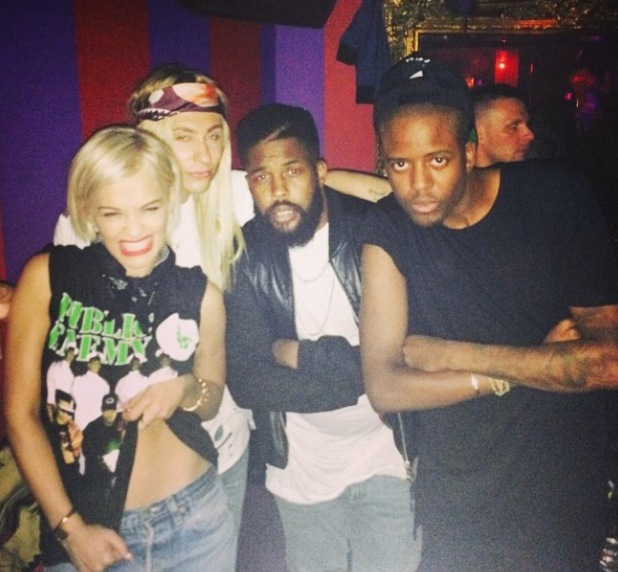 Rita Ora enjoys a night out with TOWIE's Vas J. Morgan at Cirque le Soir nightclub in London. 13 August 2014.