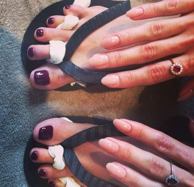 Millie Mackintosh shows off nude fingernails and deep berry toenails by RYS Hair and Beauty, London, 12 August 2014