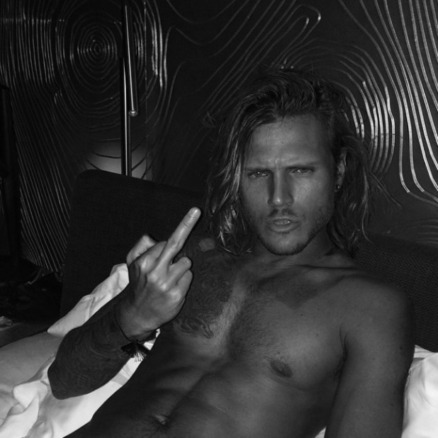 Ellie Goulding posts sexy shot of Dougie Poynter topless, 16 August 2014