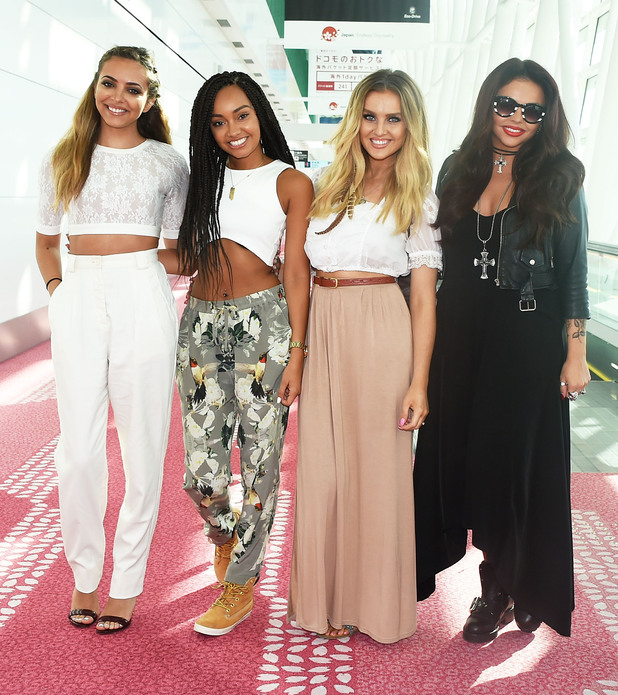 L-R) Jade Thirlwall, Perrie Edwards, Leigh-Anne Pinnock and Jesy Nelson of Little Mix is seen upon arrival at Haneda Airport on August 15, 2014 in Tokyo, Japan. (Photo by Jun Sato/GC Images)