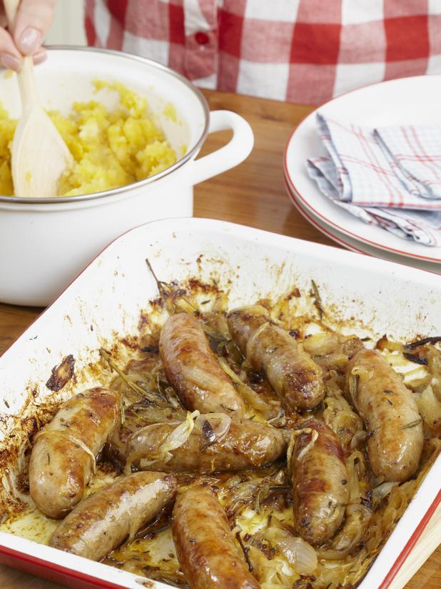 Jo Pratt's sticky sausages and smoky mash