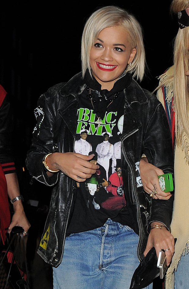 Rita Ora on a night out with friends at Cirque le Soir night club in central London. 08/14/2014 London, United Kingdom
