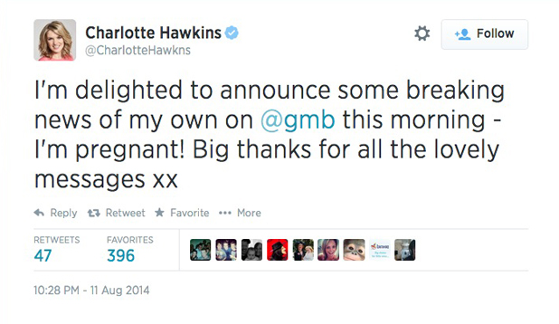 Charlotte Hawkins is pregnant. 12 August 2014