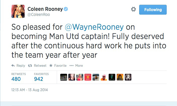 Coleen Rooney congratulates Wayne on becoming Manchester United captain, 2014