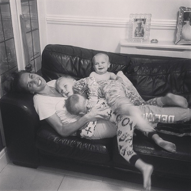 Danielle Lloyd cuddles her sons in new Instagram picture, 14 August 2014
