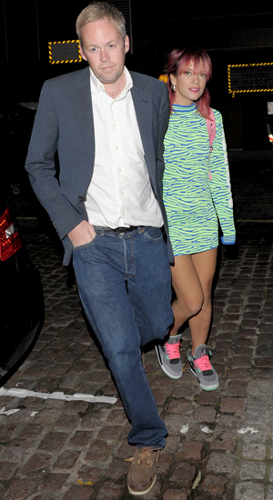 Lily Allen and husband Sam Cooper arrive at the Chiltern Firehouse restaurant, 12 August 2014