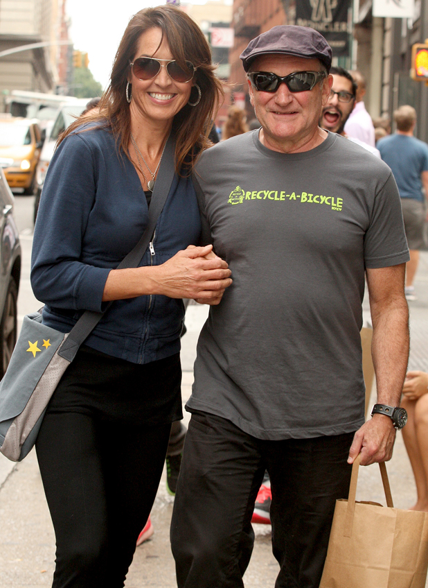 Robin Williams with wife Susan Schneider while out and about in SoHo with his wife, 2012