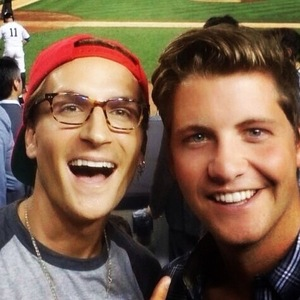 Oliver Proudlock and Stevie Johnson at baseball game in New York, Instagram 10 August