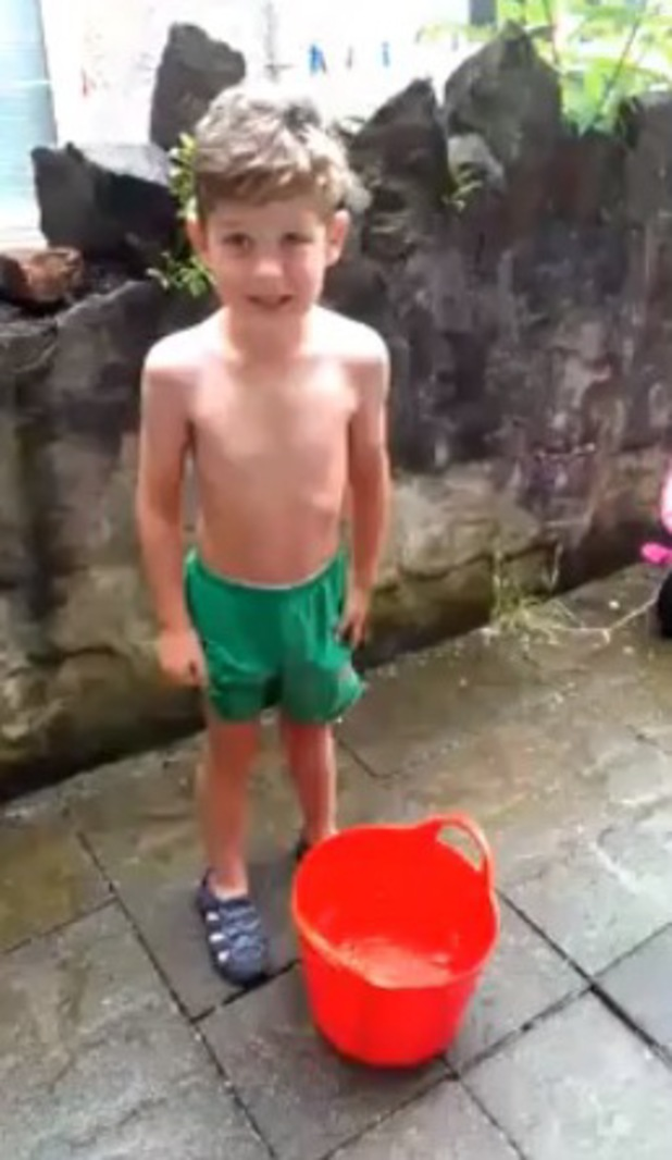 Ianto, 6, taking part in the Ice Bucket Challenge for Macmillan cancer
