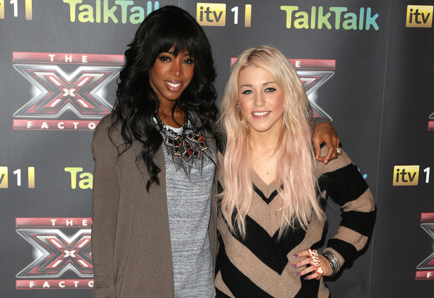 Kelly Rowland and Amelia Lily, The X Factor Finalist photocall, London December 2011