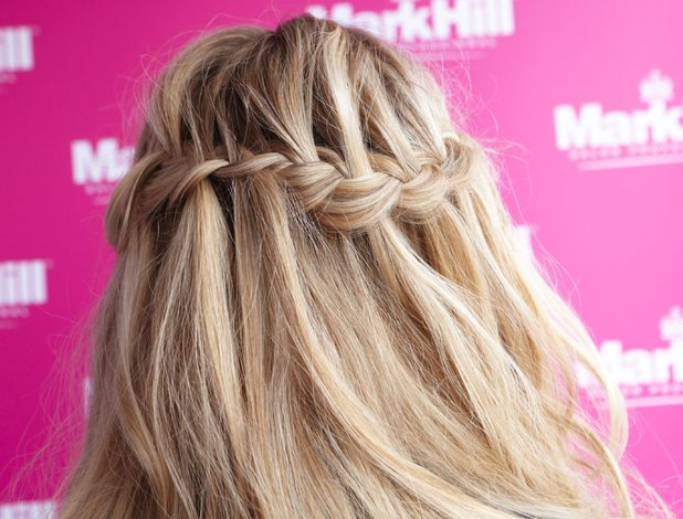 Ashley James has her hair done by the Mark Hill team in Virgin Media's Louder Lounge at V Festival - Hylands Park, Chelmsford, Essex - 17 August 2014
