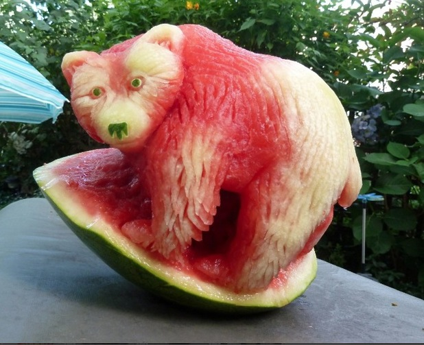Watermelon carving of spirit bear, by Clive Cooper