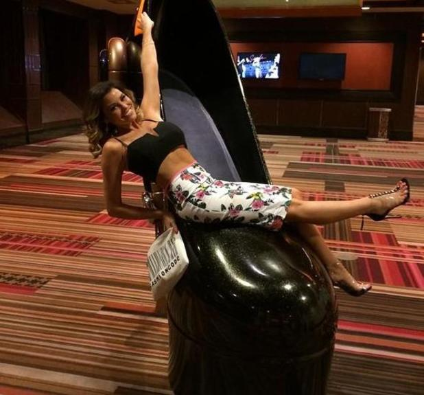 TOWIE's Jessica Wright wears a floral pencil skirt while in Las Vegas, America - 16 August 2014