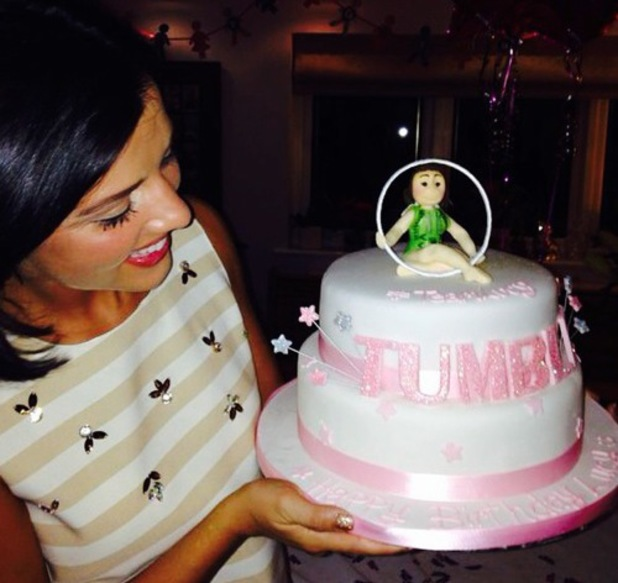 Lucy Mecklenburgh is surprised with Tumble cake for 23rd birthday, Instagram 22 August