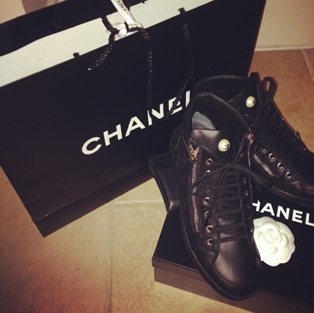 Billie Faiers shows off her new Chanel trainers in an Instagram picture - 19 August 2014