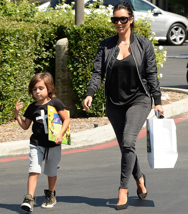 Kim Kardashian out and about shopping with Mason in Calabasas, California, America - 19 Aug 2014