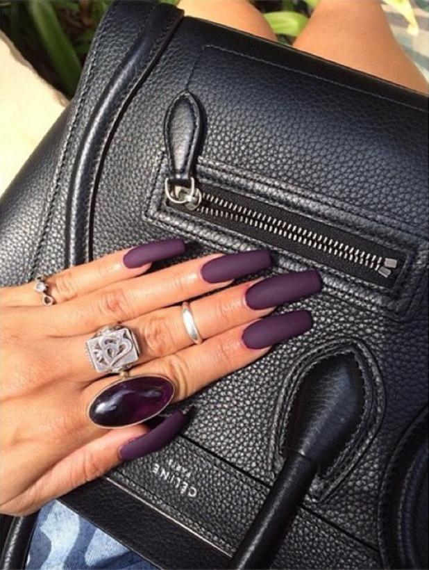 Vanessa Hudgens pairs her Céline handbag with a matte purple manicure - 20 August 2014