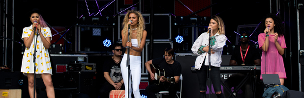 Neon Jungle performs at Virgin Media's Louder Lounge Sony Xperia Stage, August 2014