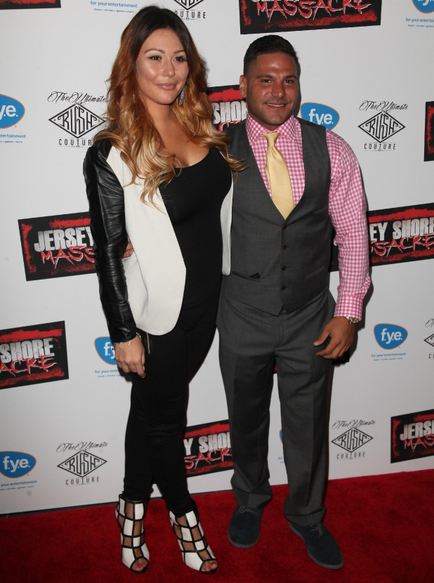 Jenni 'Jwoww' Farley and Ronnie Ortiz-Magro at New York premiere of 'Jersey Shore Massacre' at AMC Lincoln Square Theater - Red Carpet Arrivals, 19 August 2014