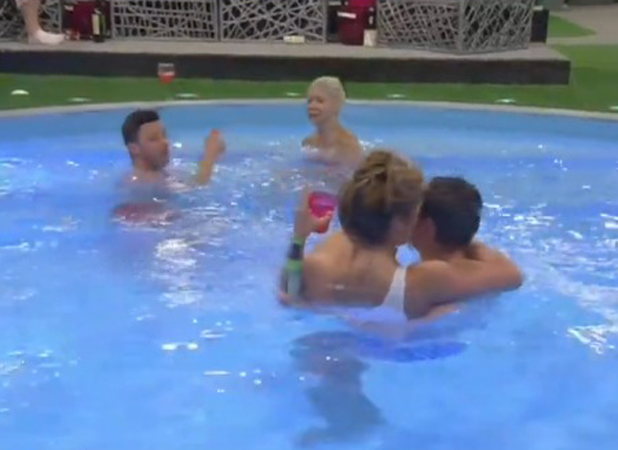 Lauren Goodger and George Gilbey flirt up a storm in the Celebrity Big Brother pool, 20 August 2014