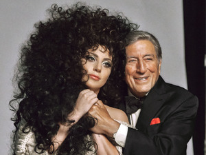 Lady Gaga and Tony Bennett in a behind-the-scenes image from the new H&M Christmas 2014 campaign.