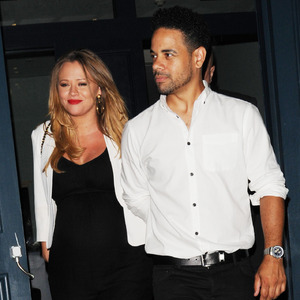 Kimberley Walsh and Justin Scott attend Cheryl Cole Wedding party held at the Library on St Martins Lane, London 22 July
