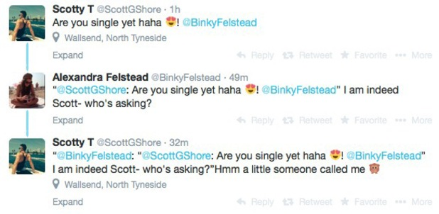 Scott Timlin asks out Binky Felstead over Twitter 27 August