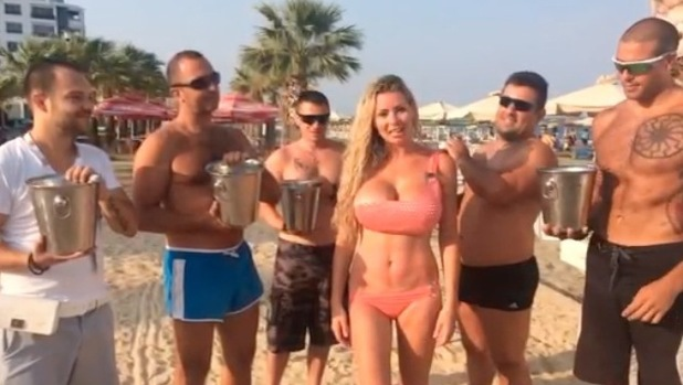 Nicola McLean does the Ice Bucket Challenge in Cyprus - 29 August 2014