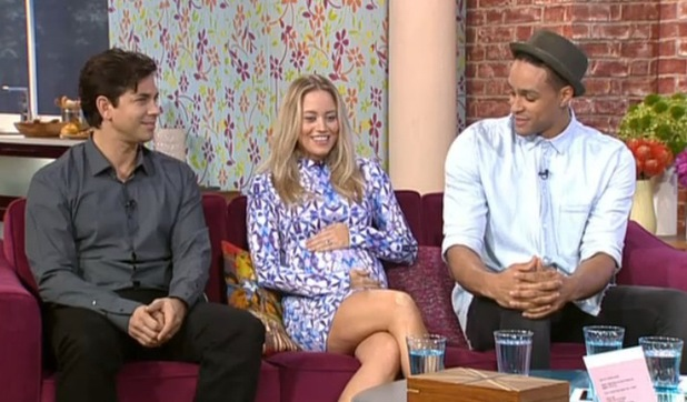 Got To Dance judges Ashley Banjo, Adam Garcia and pregnant Kimberley Wyatt on ITV's This Morning. 08/29/2014 London, United Kingdom
