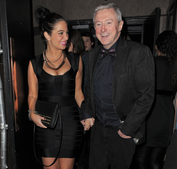 Tulisa and Louis Walsh, leave London's Apres bar February 2013