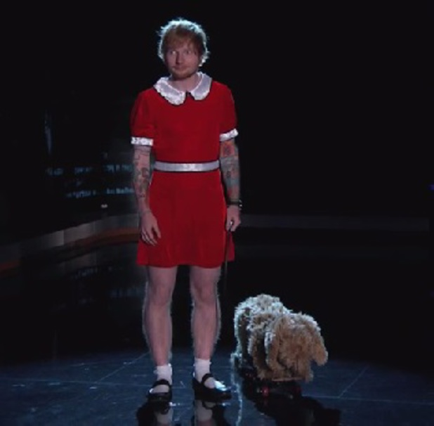 Ed Sheeran dresses as Annie on Jimmy Kimmel Live, 28 August 2014