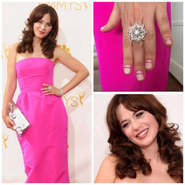 Zooey Deschanel's pink, striped nails for Emmy Awards 2014 as done by Tom Bachik, 25 August 2014