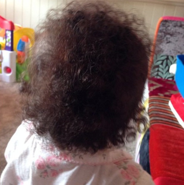 Rochelle Humes shares a picture of Alaia-Mai's curly hair - 27 August 2014