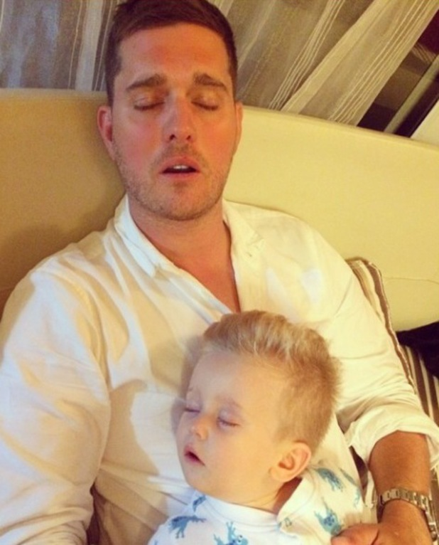 Michael Buble shares a picture of himself and son Noah sleeping - 27 august 2014