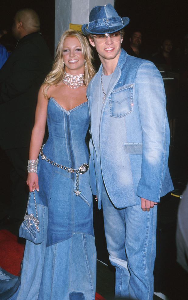 Britney Spears and Justin Timberlake wear matching denim at the American Music Awards - 8 January 2001