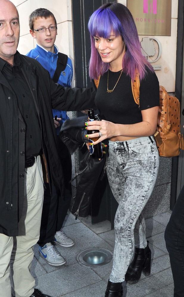 Lily Allen shows off purple hair leaving Dublin hotel, 31 August 2014