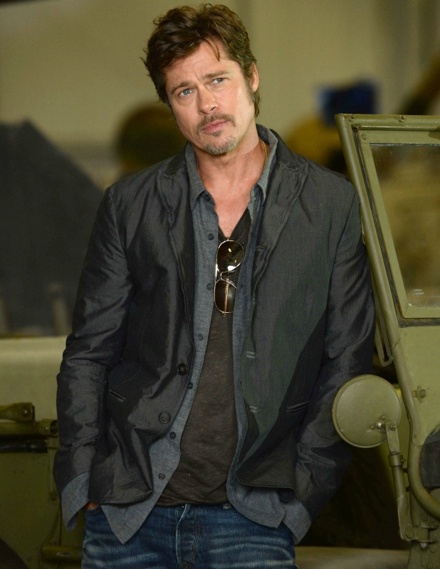 'Fury' film photocall at Bovington Tank Museum, Dorset, Britain - 28 Aug 2014 Brad Pitt