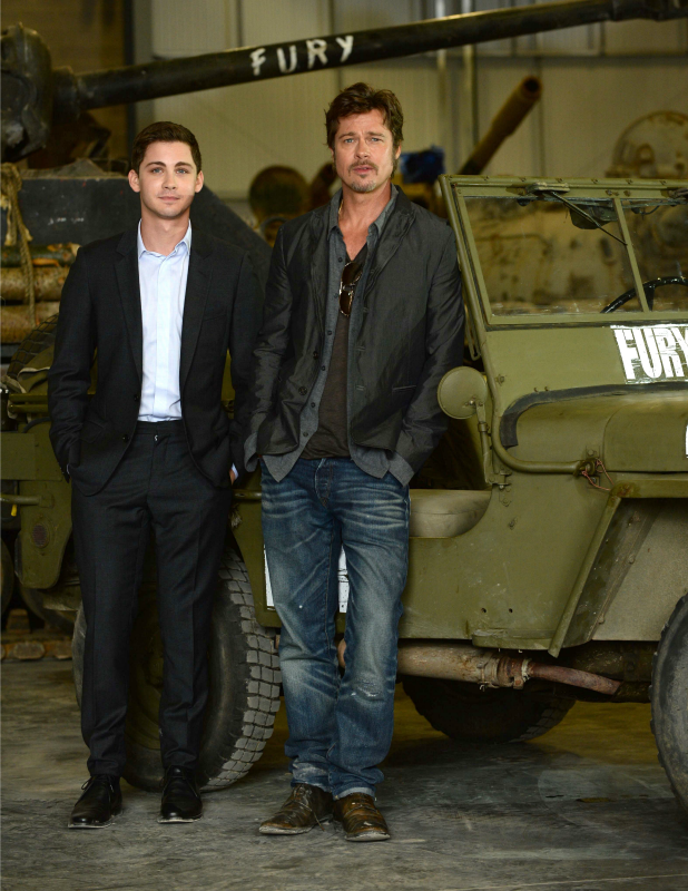 'Fury' film photocall at Bovington Tank Museum, Dorset, Britain - 28 Aug 2014 Brad Pitt and Logan Lerman