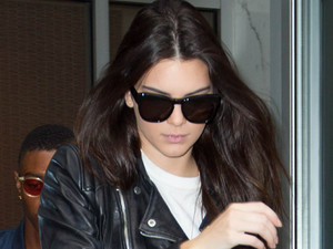Kendall Jenner wears a leather biker jacket while out in New York, America - 30 August 2014