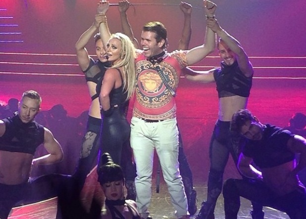 Britney Spears and Perez Hilton on stage, Planet Hollywood Resort and Casino, Las Vegas 1 September
