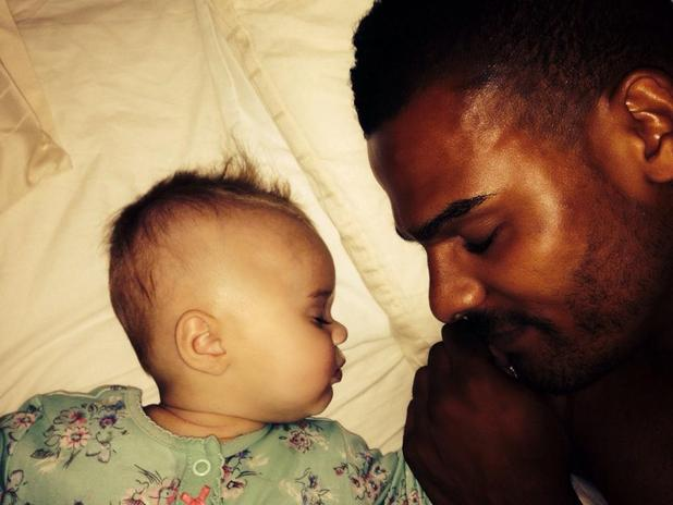 Kerry Katona shares new picture of baby Dylan-Jorge cuddled up to her dad George Kay in bed - 2 September 2014